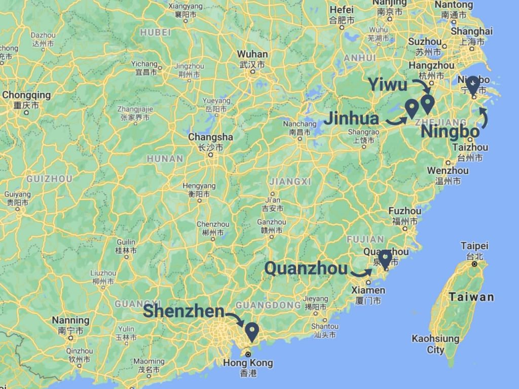 Importing halloween products from China - map