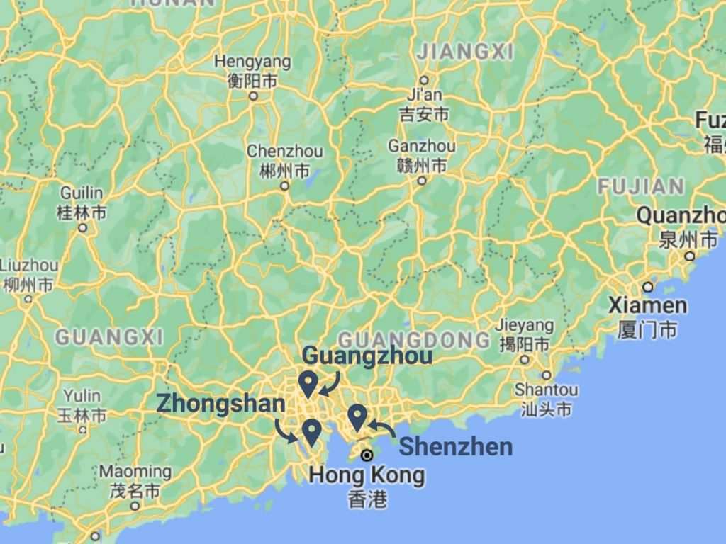 Importing led lights from China - map