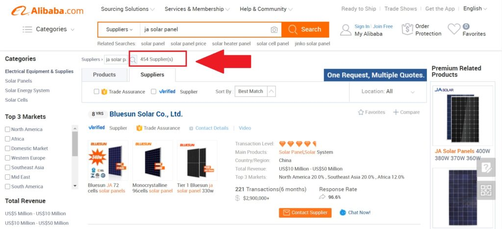 suppliers on Alibaba