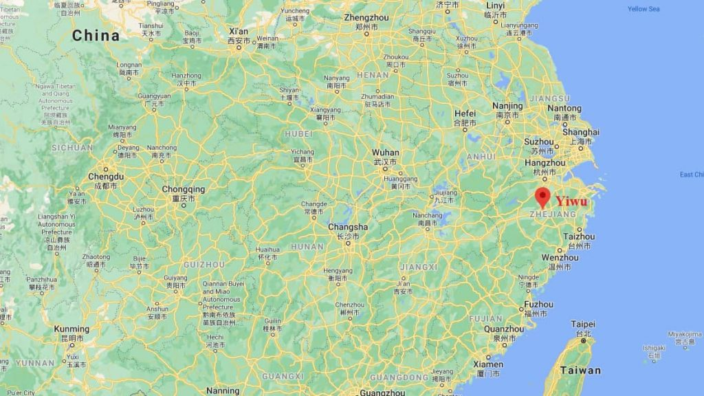 Yiwu in China on the map