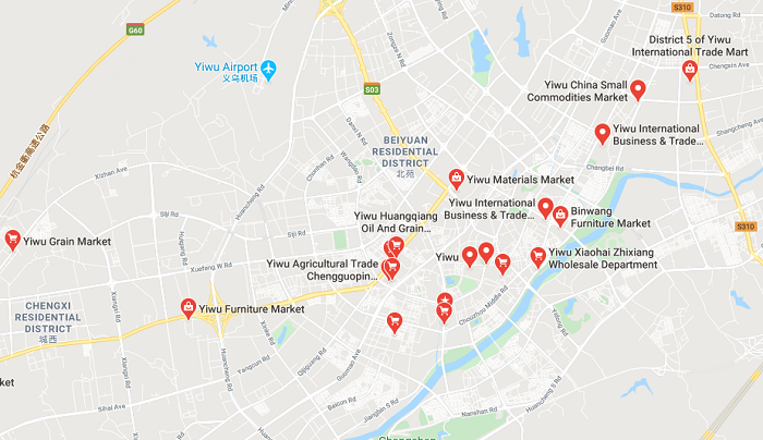 Markets in Yiwu on the map China