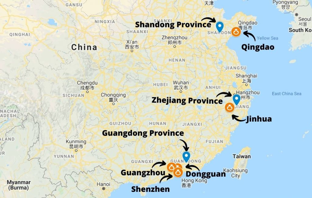 Production centers for jewelry in China