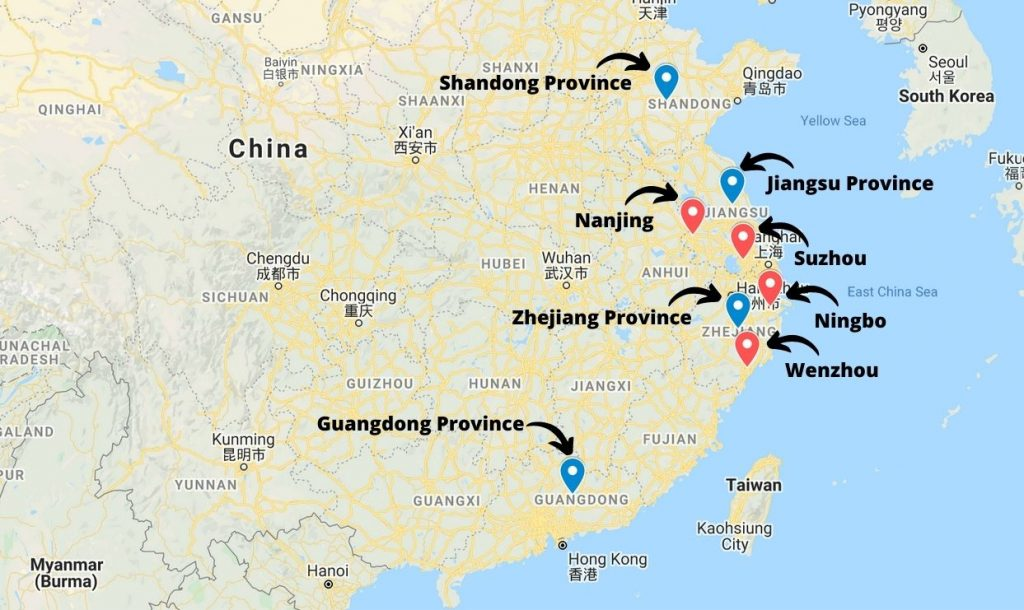 Production areas for tools in China