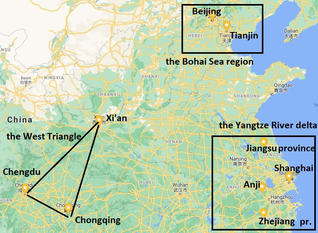 Manufacturing areas in China