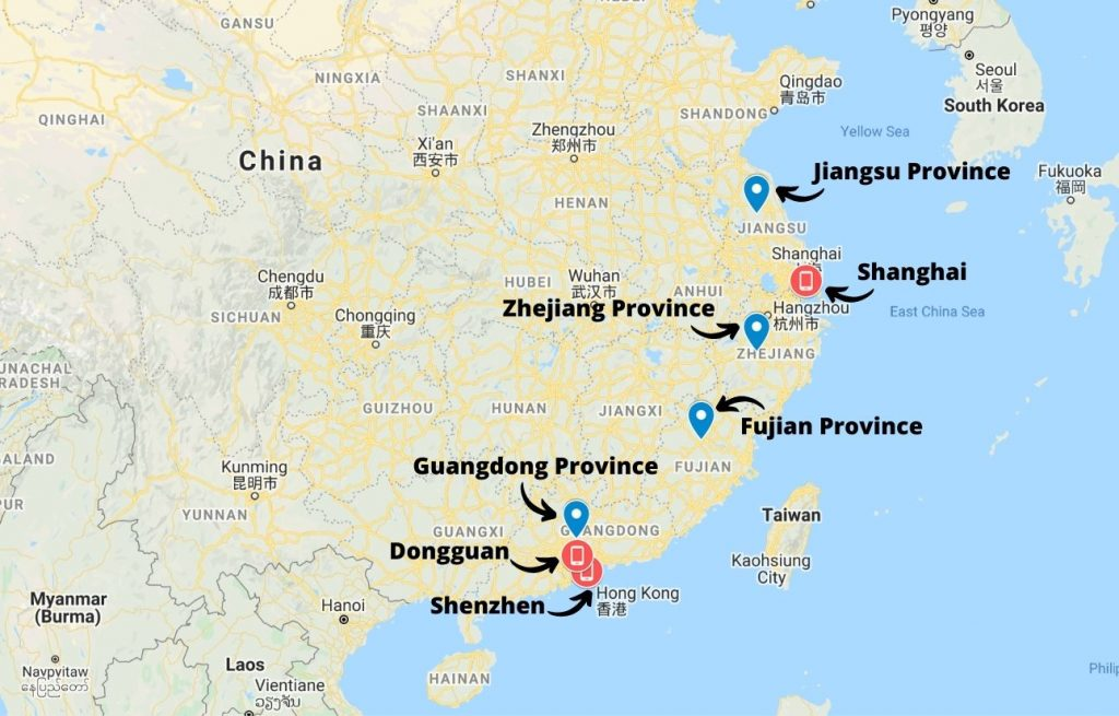 Production areas for electronics in China